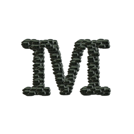 Closeup pile of black stone in M english alphabet isolated on white background