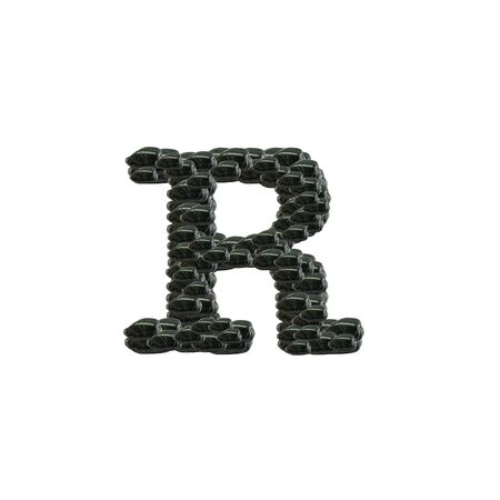 Closeup pile of black stone in R english alphabet isolated on white background Standard-Bild