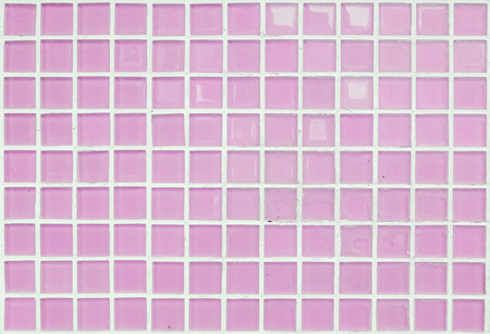 Closeup surface of pink glass tile at the temple wall texture background Standard-Bild