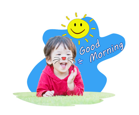 Closeup cute asian kid with smile face with good morning word isolated on white background