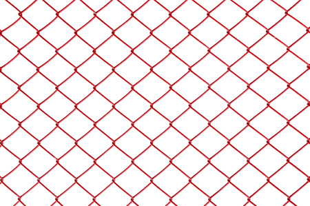 Closeup red metal net at fence isolated on white background