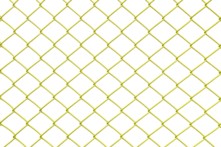 Closeup yellow metal net at fence isolated on white background Stock Photo