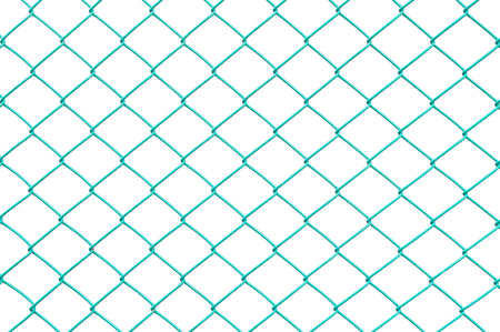 Closeup surface green metal net at fence isolated on white background