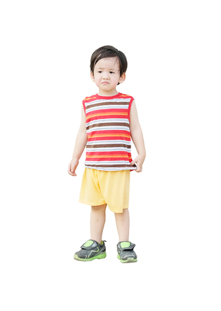Closeup asian kid do not look satisfied with something isolated on white background 版權商用圖片