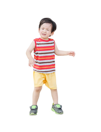 Closeup sad asian kid cry because he want something isolated on white background Standard-Bild - 120314501