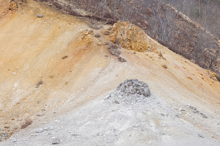 Landscape of mountain in the hot spring area with some steam Standard-Bild - 122498155