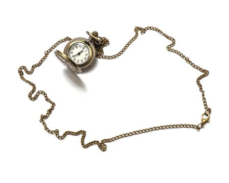 Closeup brass watch necklace isolated on white background