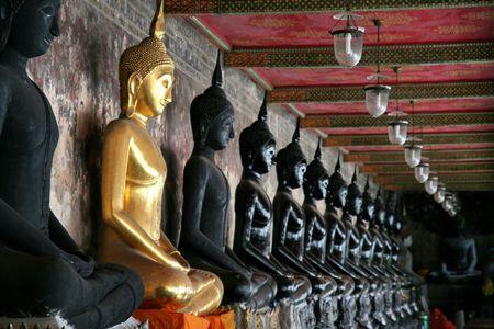 Golden Holy Statue of Buddha Stock Photo