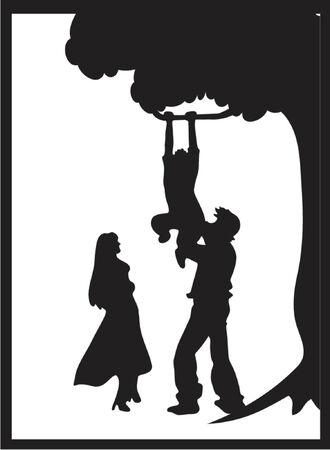 hanging woman: Siluetta Della Famiglia (Vettore) Vettoriali