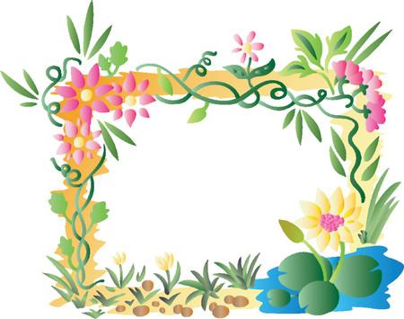 garden pond: Tropical Flower Frame (Vector)