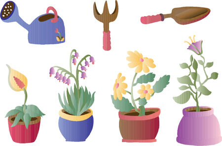 small tools: Gardenting and Plants (Vector) Illustration