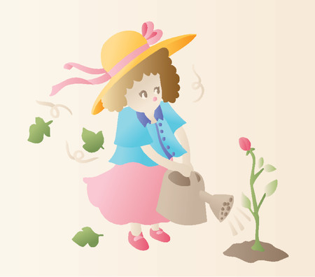 Gardening Girl (Vector) Stock Vector - 892814