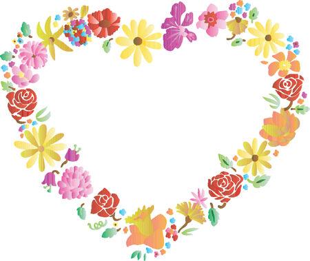 hart bloem: Valentine Heart Flower Frame (Vector)