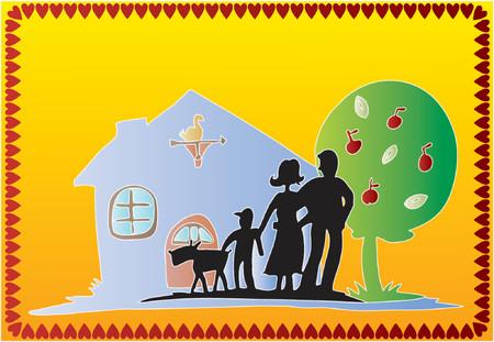 family outside house: Family (Vector) Illustration