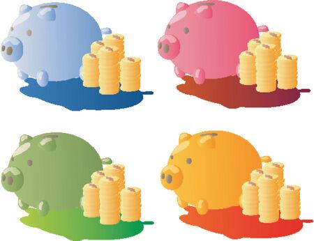 security token: Piggy Bank And Gold Coins (Vector)