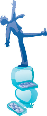 A figure standing on top of pile of computers and reaching up (Vector)