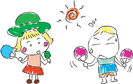 familia asiatica: Verano caliente Boy Girl Kid Dibujo (vector)