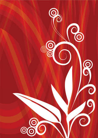 Tropical Flower In Red Background Illustration