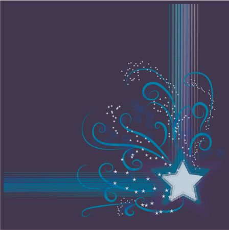 Star on blue background and grunge star sparkling ornament Stock Vector - 1029019