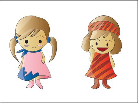 stylish couple: Two Cute Little Girls Cartoon