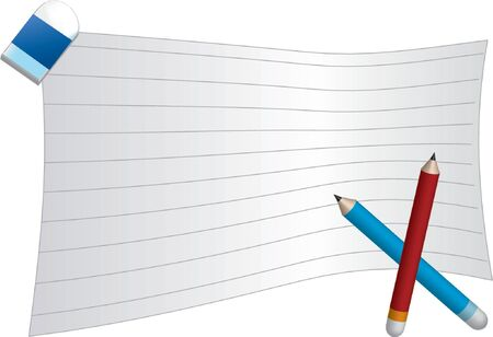 Blank lined paper with red and blue pencil and a rubber  Vector