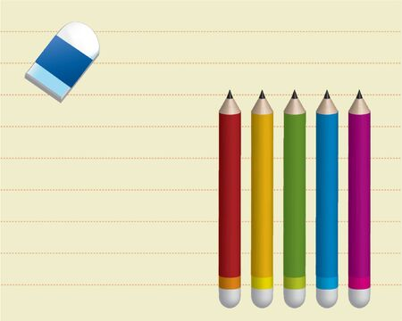 Note book paper with five pencil in red yellow green blue and purple and a rubber