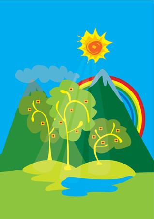 Mountain View With Rainbow Vector