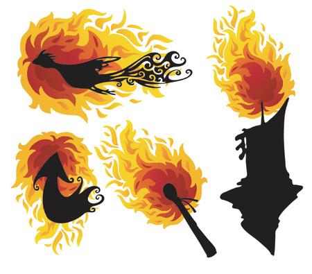 Fire Figures Abstract Vector Illustration Art