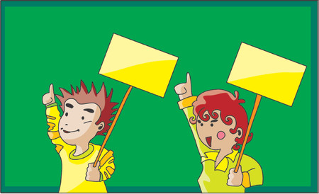 Cartoon display a man and a lady with blank placards. Vector