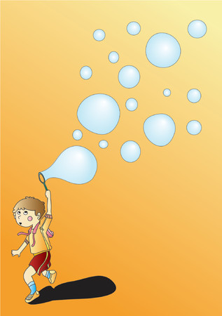 A boy running and playing with soap bubble (Vector)