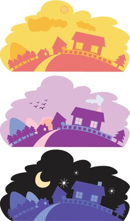 Vector illustration of a peaceful country side scenery with houses and mountain, in the morning, evening and at night