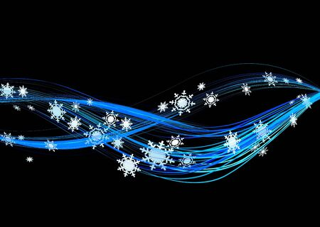 Background vector illustration of snowflakes winter flow in black illustration