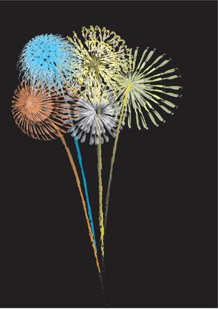 Vector illustration of exploding fireworks Illustration