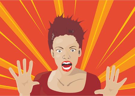 miedoso: Mano de dibujo vectorial ilustraci�n de una mujer sorprendida con expresi�n  Vectores