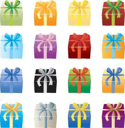 Many Color Giftboxes Vector