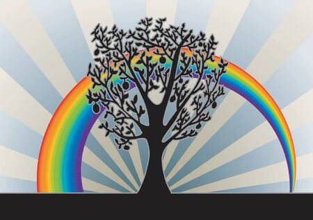 Tree Background With Rainbow  Stock Vector - 1326157