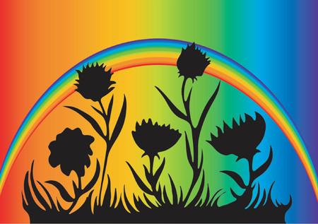 Rainbow Flower Design Vector