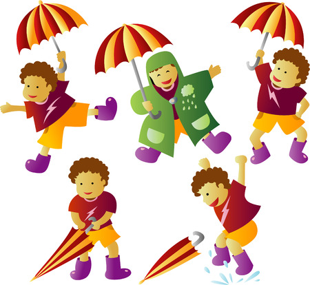 Raining Boy With Umbrella Vector