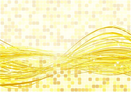 Yellow Sparkling Light Flowing Vector Background Illustration