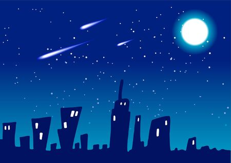 Mystic City Night Vector Background