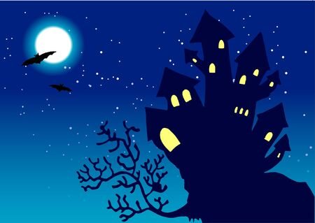 turret: Halloween Night Vector Background