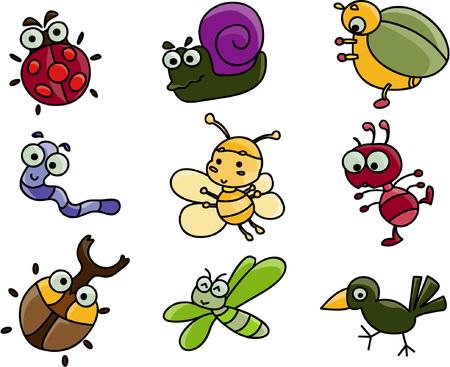 gusanos: Historieta linda de muchos insectos Vectores