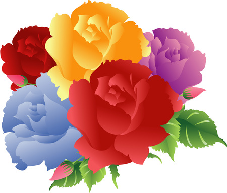 Kleurrijke Rozen boeket