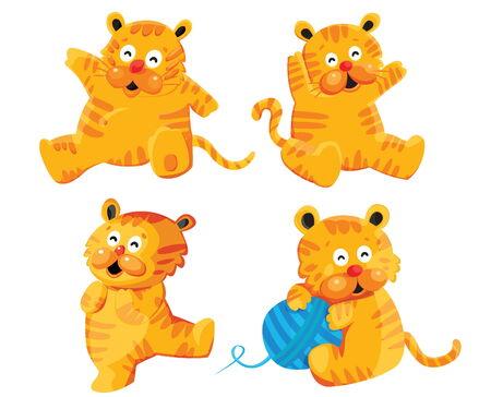 Cute Tiger Cartoon Characters Vector