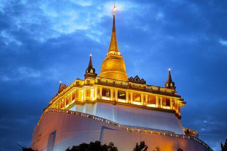 Beautiful view of Wat Saket ratcha wora maha wihan(wat phu khao thong, golden mount temple) Bangkok, thailand at night time.