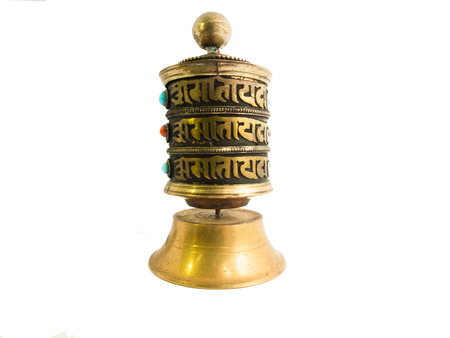 karma: A  Buddhist Prayer Wheel  to increase good karma and get rid of bad karma - Isolated