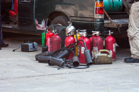 fire extinguishers: Fire extinguishers (Chemical Powder, Dry)-Being used Stock Photo