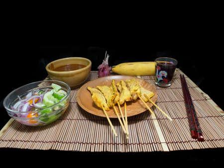 peanut sauce: Pork Satay with Peanut Sauce. Isolate,Copy space.Food set.