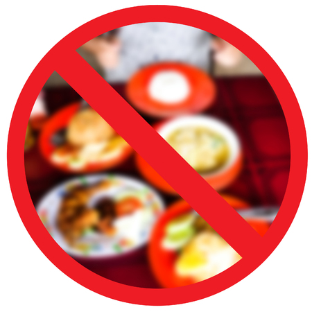 no food: No fried foods, no, its healthy and stop obesity. Abstract sign.
