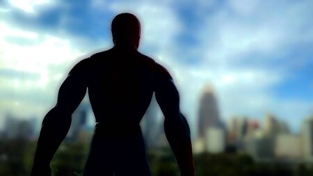 A burly, figure on a skyscraper in a city park. Standing behind a silhouette.